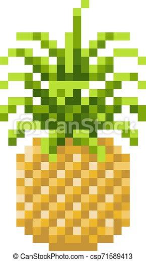 Pineapple Pixel Art 8 Bit Video Game Fruit Icon A Pineapple Pixel Art 8 Bit Video Game Style Fruit Icon Canstock