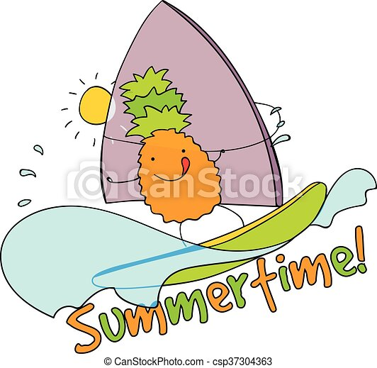 pineapple windsurfing summertime vector illustration cute clip rh canstockphoto com summertime clip art free summertime clip art coloring pages