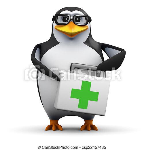 El pingüino académico 3D tiene un equipo de primeros auxilios - csp22457435