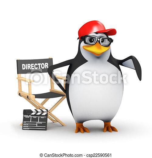El pingüino académico 3D dirige su última película - csp22590561