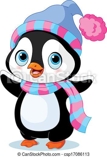Lindo pingüino de invierno - csp17086113