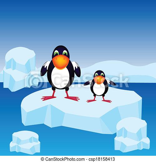 Pingüinos en el bloque de hielo - csp18158413