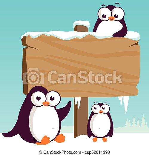 Señal de madera y pingüinos en la nieve. Ilustración de vectores - csp52011390