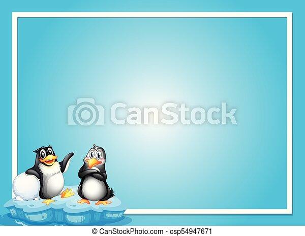 Planta fronteriza con dos pingüinos sobre hielo - csp54947671