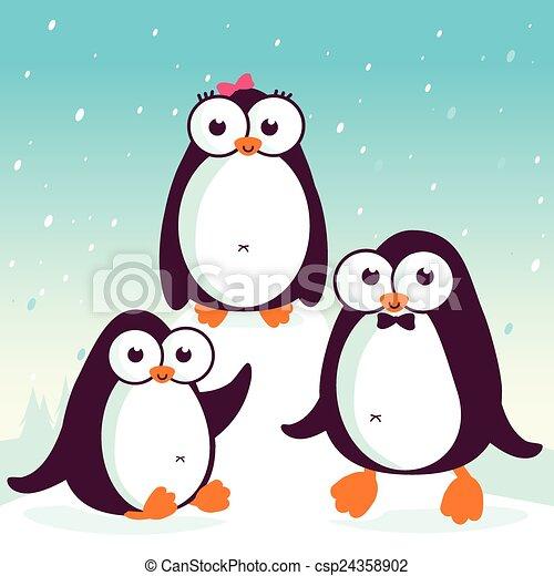 Pingüinos sobre hielo - csp24358902