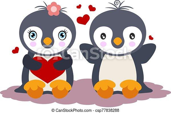 pingüinos, lindo, amor, pareja - csp77838288