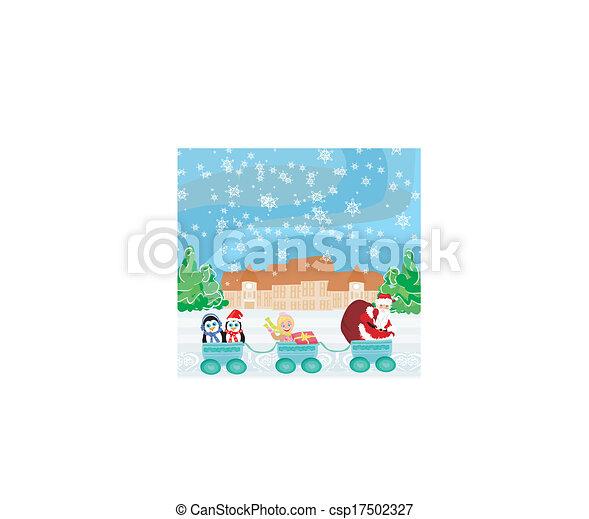 El tren de Navidad de Santa. Bebé, regalos y pingüinos - csp17502327