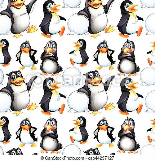 Pinguins Desenho Seamless Fundo Fundo Pinguins Desenho