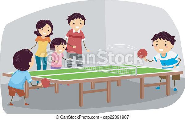 ping-pong, famille - csp22091907