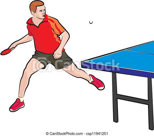 ping-pong, -, joueur - csp11941251