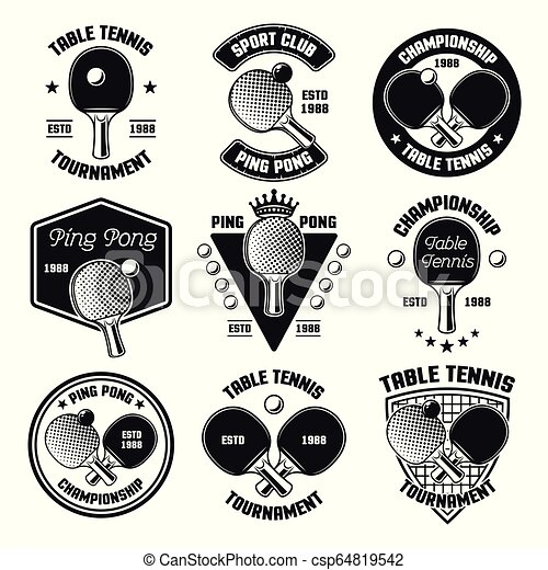 Ping Pong Or Table Tennis Vector Black Emblems Set Of Ping Pong