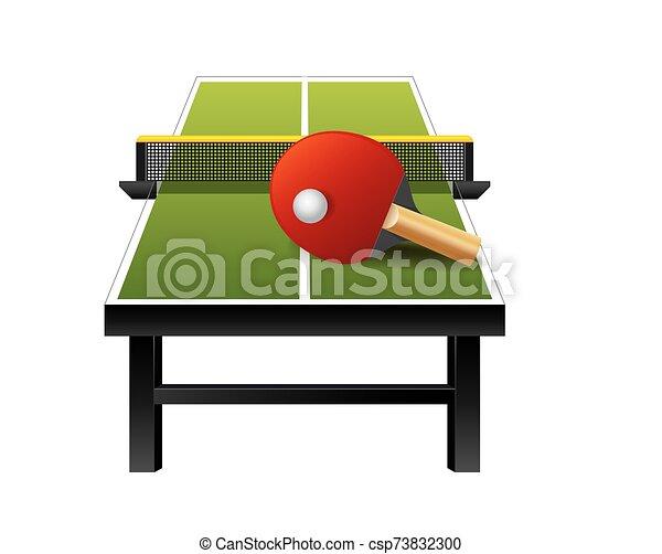 ping-pong, vector, tenis, 3d, equipo, tabla, plano de fondo, pelota, blanco, aislado, raqueta, red - csp73832300