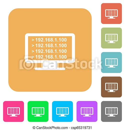 Ping remote computer rounded square flat icons
