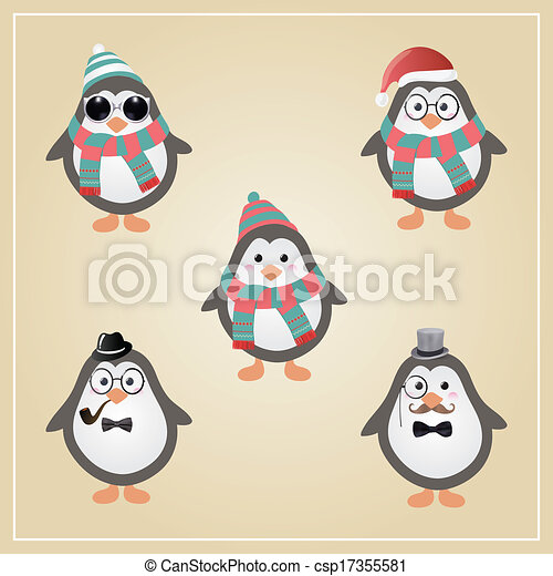 pingouins, hipster, hiver, illustration - csp17355581