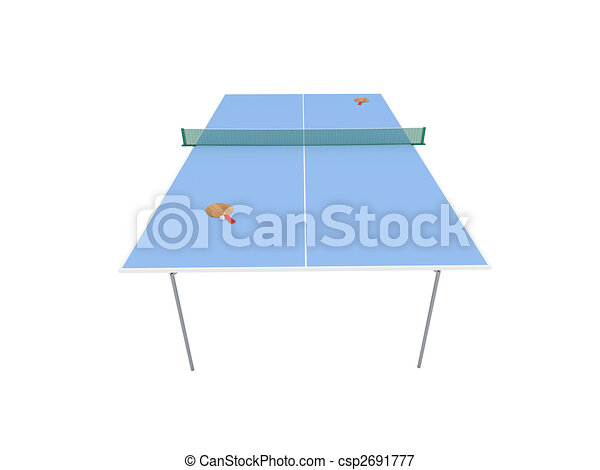 pingpong table over white - csp2691777