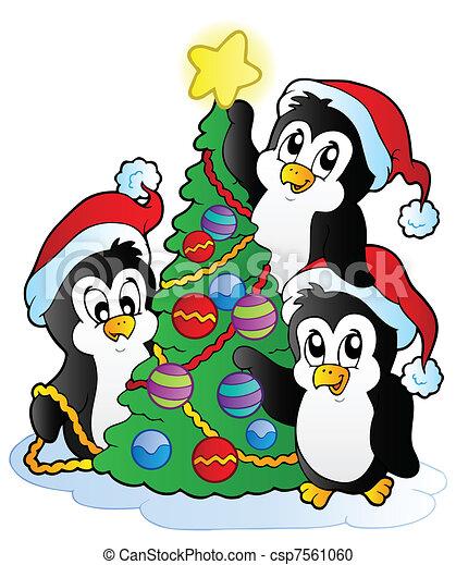 Drei Pinguine mit Weihnachtsbaum - csp7561060