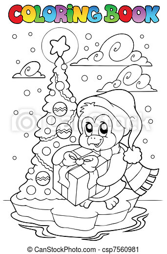 pinguino, libro colorante, regalo, presa a terra - csp7560981