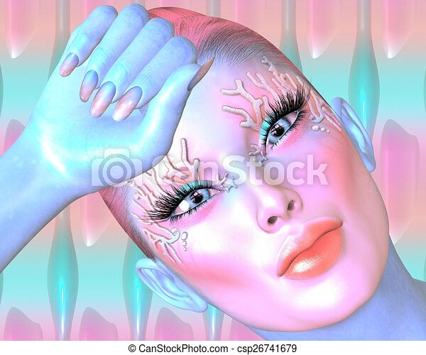 Pink abstract Woman's face - csp26741679