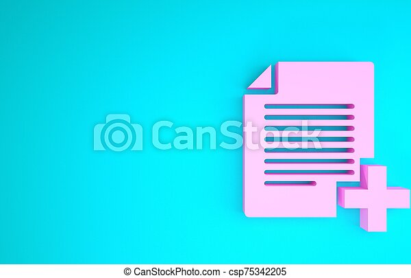 Pink Add new file icon isolated on blue background. Copy document icon. Minimalism concept. 3d illustration 3D render - csp75342205