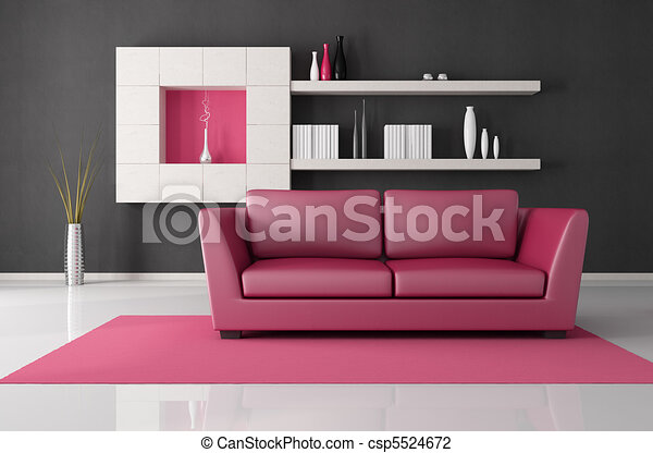 Pink and black living room. Pink and black modern lounge - rendering.
