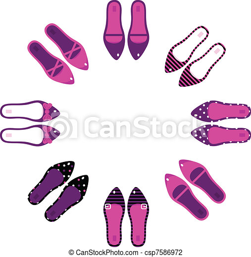 Pink and black retro shoes in circle isolated on white