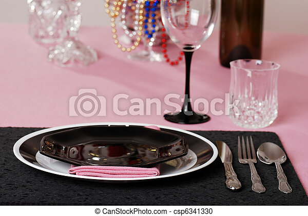pink and black table setting - csp6341330 & Pink and black table setting with wine stock photography - Search ...