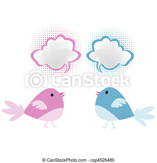 Pink and blue birds with chat bubbles - csp4526480