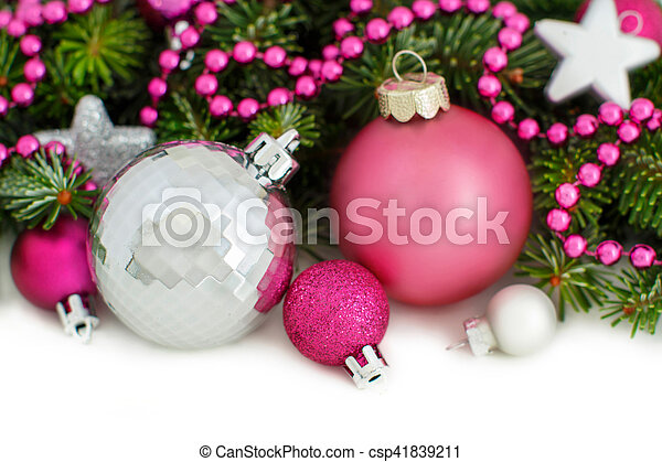 Pink And Silver Christmas Ornaments Border