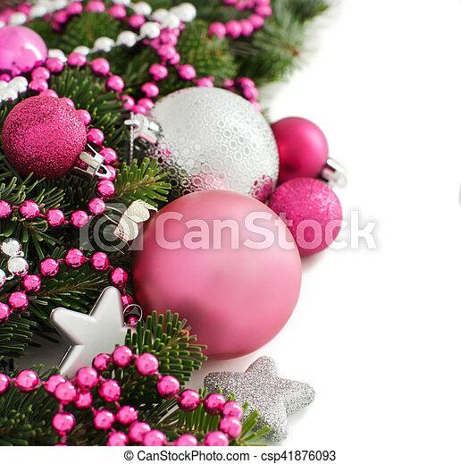 Pink Christmas Ornaments.Pink And Silver Christmas Ornaments Border
