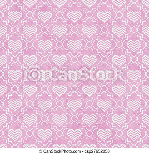 Pink and White Chevron Hearts Tile Pattern Repeat Background - csp27652058
