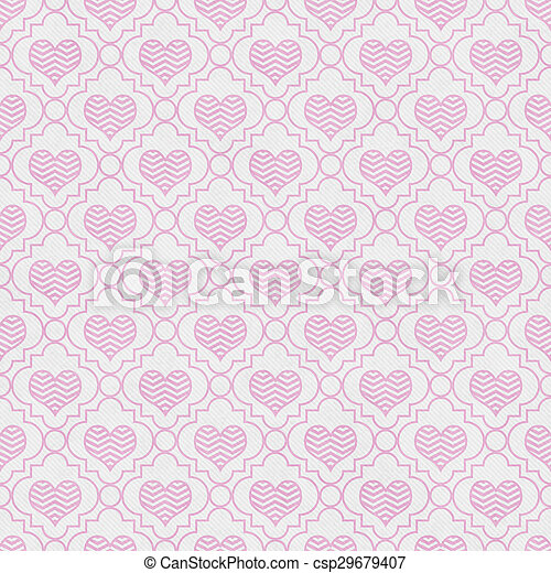 Pink and White Chevron Hearts Tile Pattern Repeat Background - csp29679407