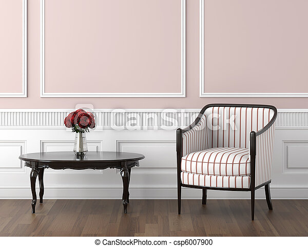 pink and white classic interior - csp6007900