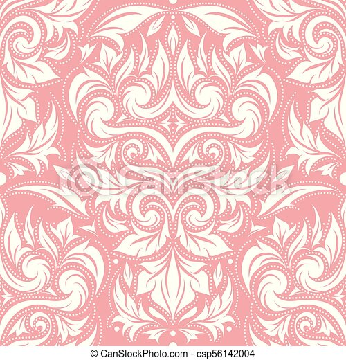 Pink And White Damask Vector Seamless Pattern Wallpaper Elegant Classic Texture Luxury Ornament