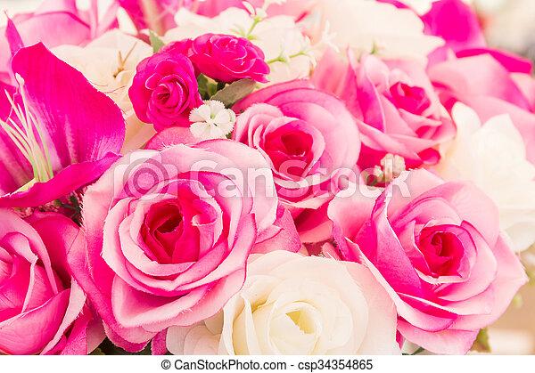 Pink and white fake flower handmade sewing flowers lot of pink and white fake flower handmade sewing flowers csp34354865 mightylinksfo