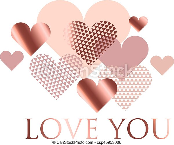 Pink And White Geometry Hearts Vector Illustration Valentines Day