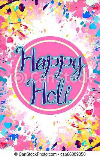 Pink And Yellow Holi Card