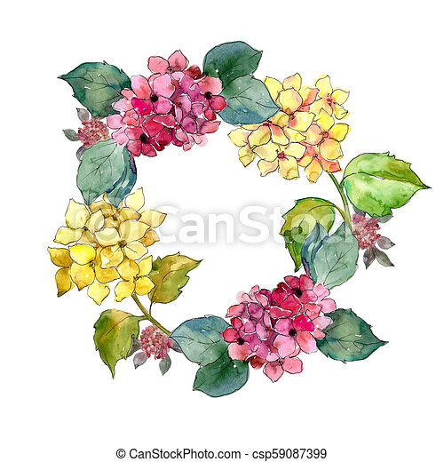 Pink And Yellow Hydrangea Flowers Floral Botanical Flowerame