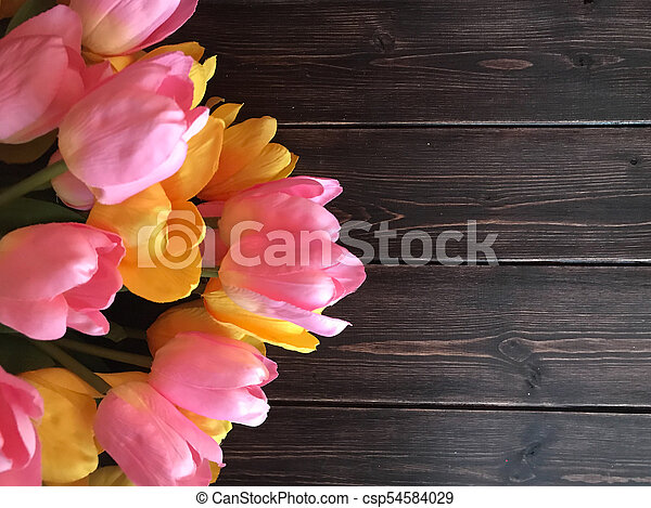 Pink and yellow tulips on a wooden background. - csp54584029