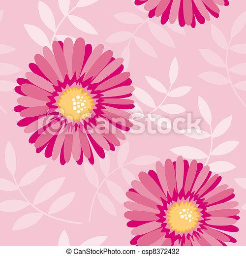 Pink aster seamless floral pattern - csp8372432