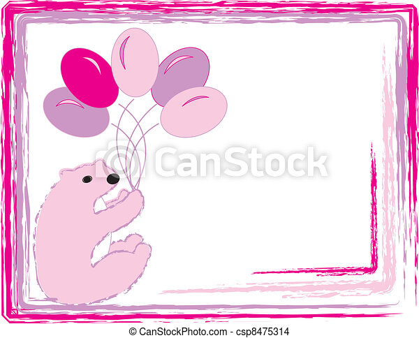 Pink Baby Bear With Balloons