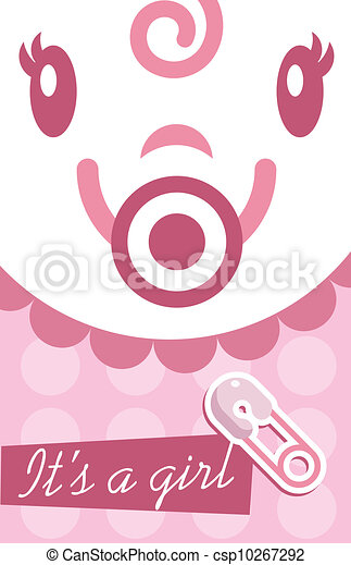 Pink baby girl invitation card pink vector baby girl shower pink baby girl invitation card csp10267292 stopboris Images