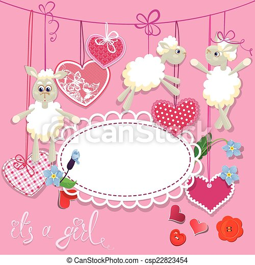 Pink Baby Shower Card With Sheep And Hearts Design For Girls