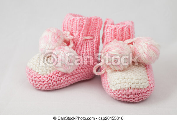 pink baby's bootees - csp20455816