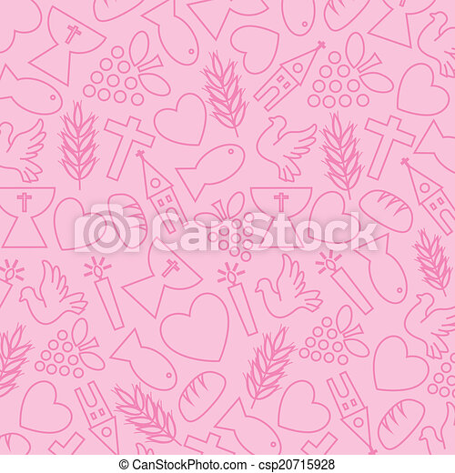 Pink background with communion icon - csp20715928