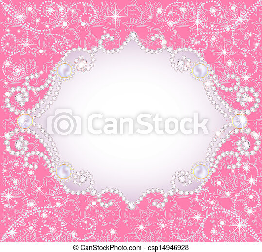 pink background with pearls, for inviting - csp14946928