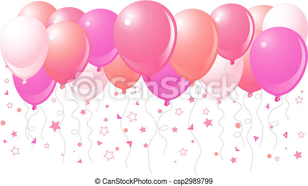 Pink balloons flying up - csp2989799