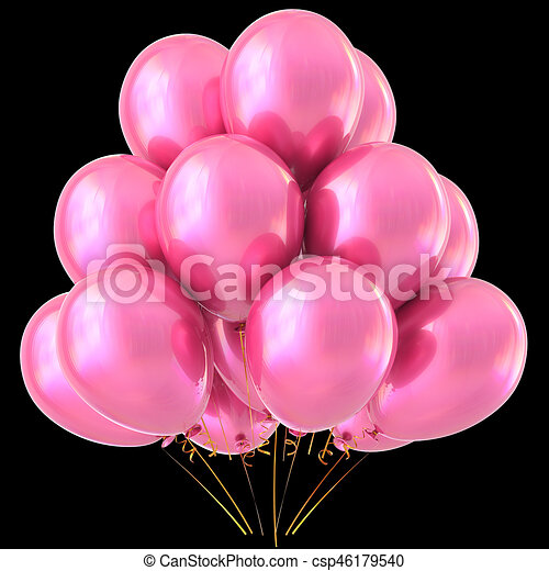 Pink Balloons Happy Birthday Party Decoration Glossy