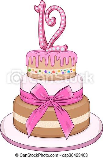 Pink Bat Miztvah Cake For 12th Birthday - csp36423403