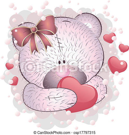 Pink bear with heart - csp17797315