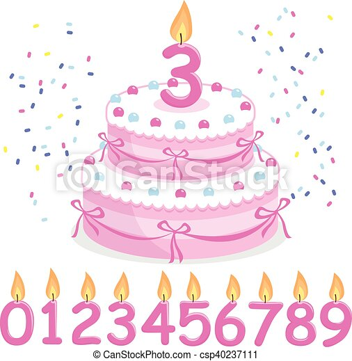 Pink Birthday Cake And Candles Vector Illustration Vector